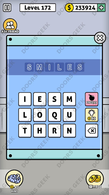 The answer for Escape Room: Mystery Word Level 172 is: SMILES