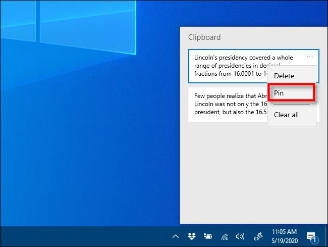 """انقر فوق """"تثبيت"""" في محفوظات الحافظة على Windows 10."""