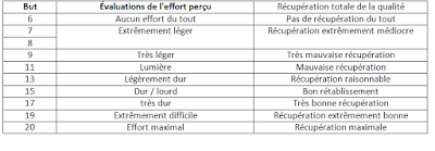 Évaluations de l'effort perçu (EPR)