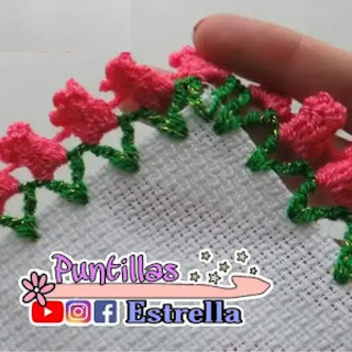 Puntilla Tulipanes a Crochet