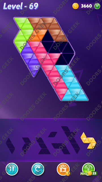 Block! Triangle Puzzle 7 Mania Level 69 Solution, Cheats, Walkthrough for Android, iPhone, iPad and iPod