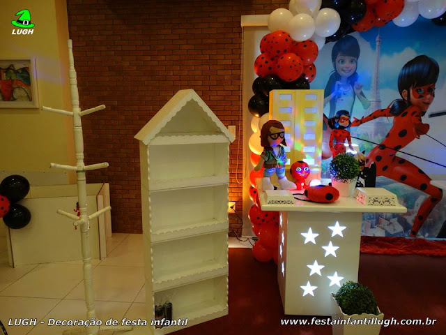 Decoração provençal tema Miraculous -  Ladybug -  Cat Noir - Mesa temática decorada para festa infantil