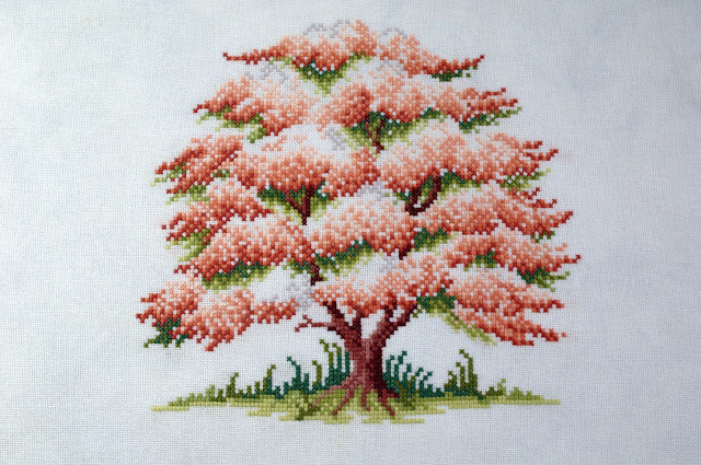 Cross stitch finish, blossoming spring, sheila hudson, The Ultimate Forest Friends Cross Stitch Collection, stitching