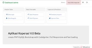 Aplikasi Koperasi Codeigniter 3 Bootstrap