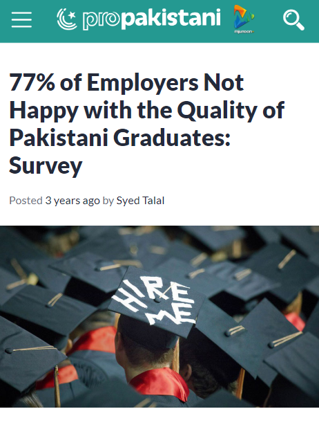 77% of Employers Not Happy with the Quality of Pakistani Graduates
