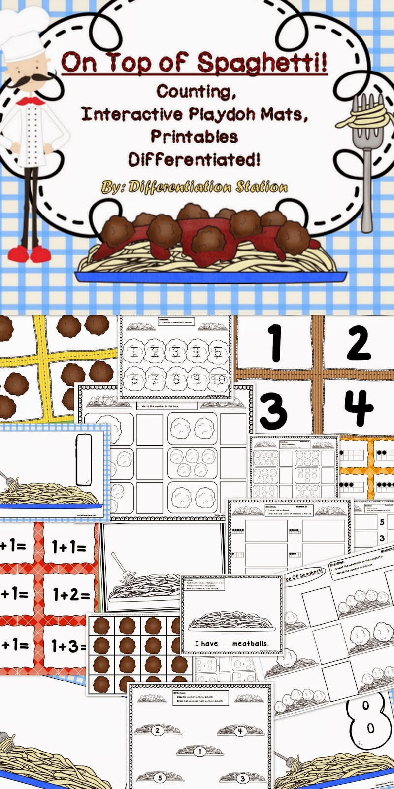 http://www.teacherspayteachers.com/Product/On-Top-of-Spaghetti-Interactive-Playdoh-Mats-Counting-Centers-Printables-914921