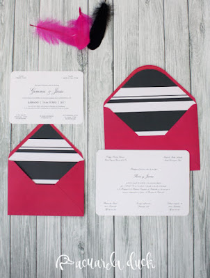 Invitación boda rosa