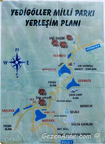 Yedigöller Milli Parkı Yerleşim Planı, hangi göl nerede