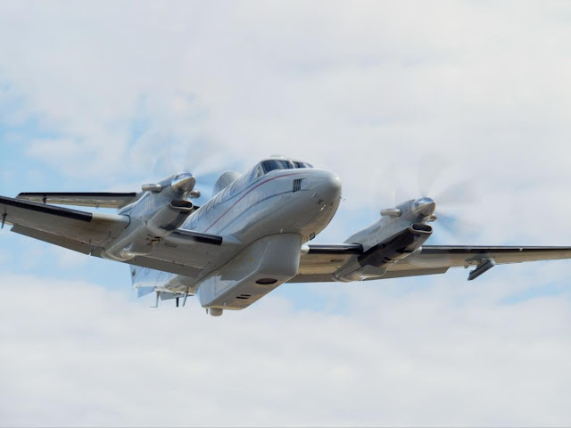 Picture of IMSAR's NSP-7 Blk II flying on MSA's King Air