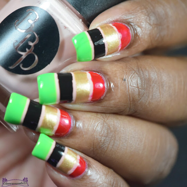 Nude, Red, Gold, Black & Green Color Block
