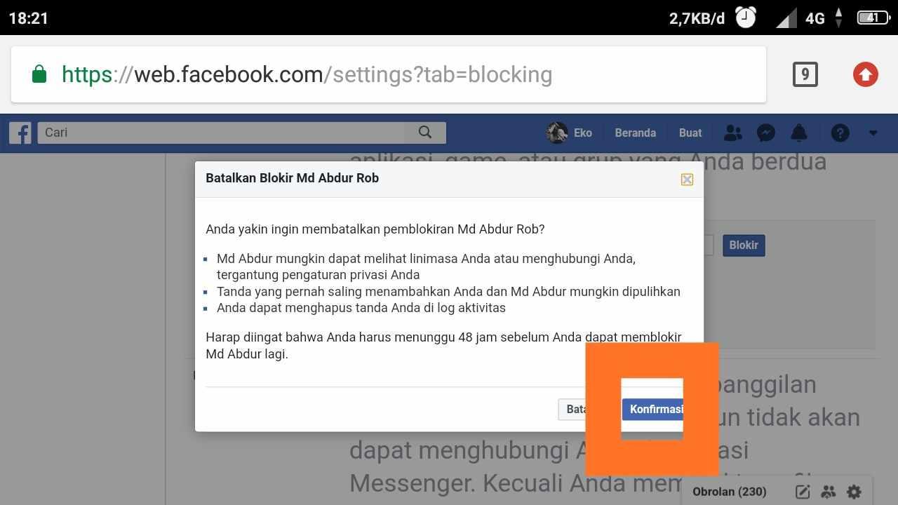 cara buka blokir teman di facebook lite