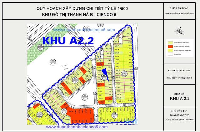 Sơ đồ khu A2.2 dự án Thanh Hà Cienco 5 Hà Đông