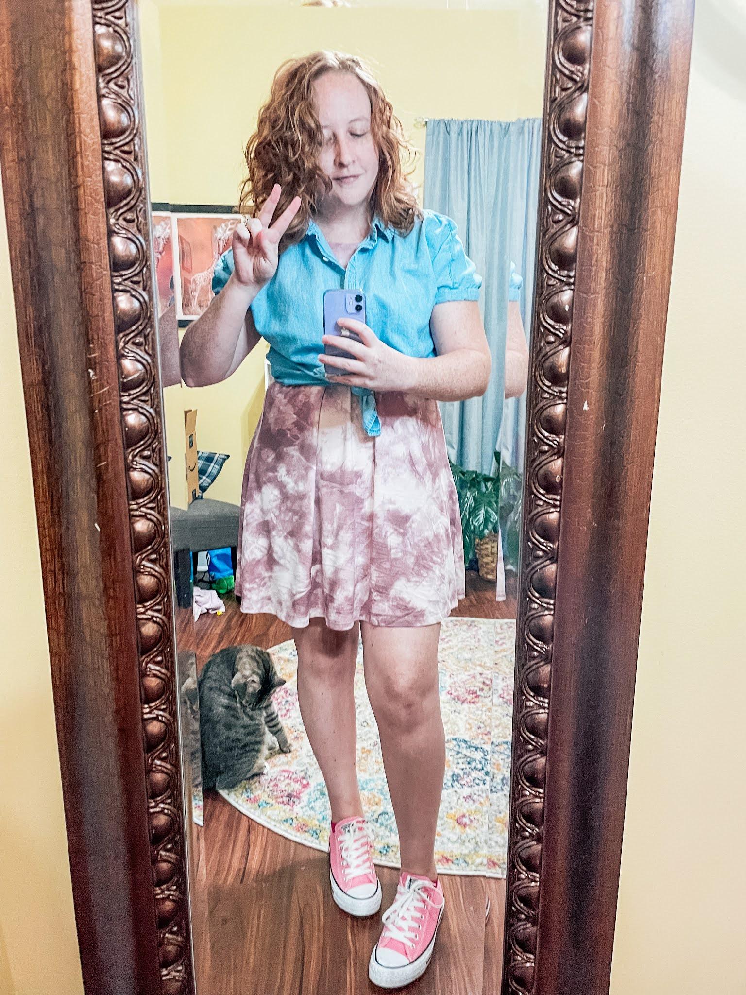 mauve-tie-dyed-dress-chambray-shirt-converse