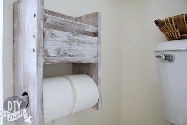 DIY wood toilet paper holder