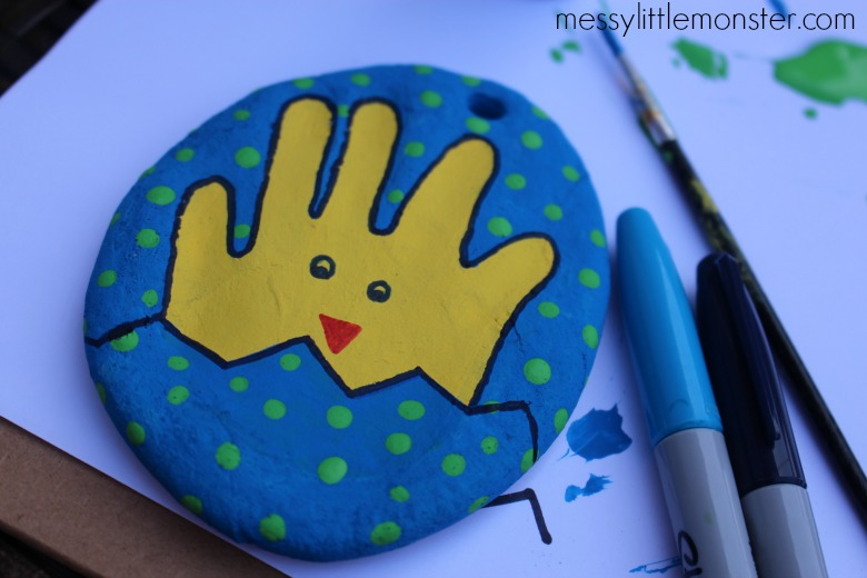 Salt dough egg with handprint Easter chick