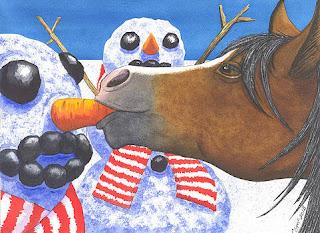 pinturas-con-temas-de-fantástica-navidad obras-con-navidad-muñecos-nieve