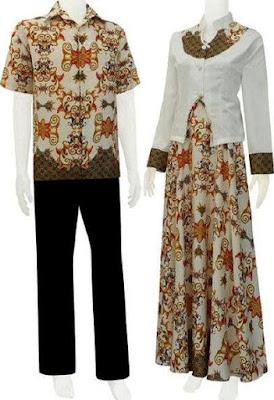 Model Gamis Batik Kombinasi Blazer pasangan