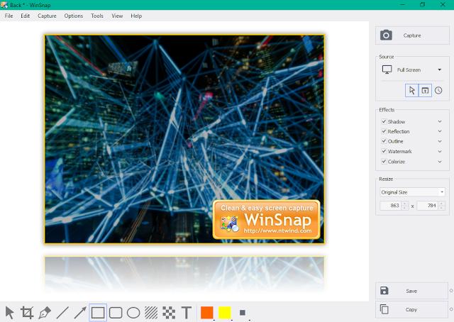 تحميل برنامج WinSnap لتصوير الشاشة والتعديل على الصور للويندوز