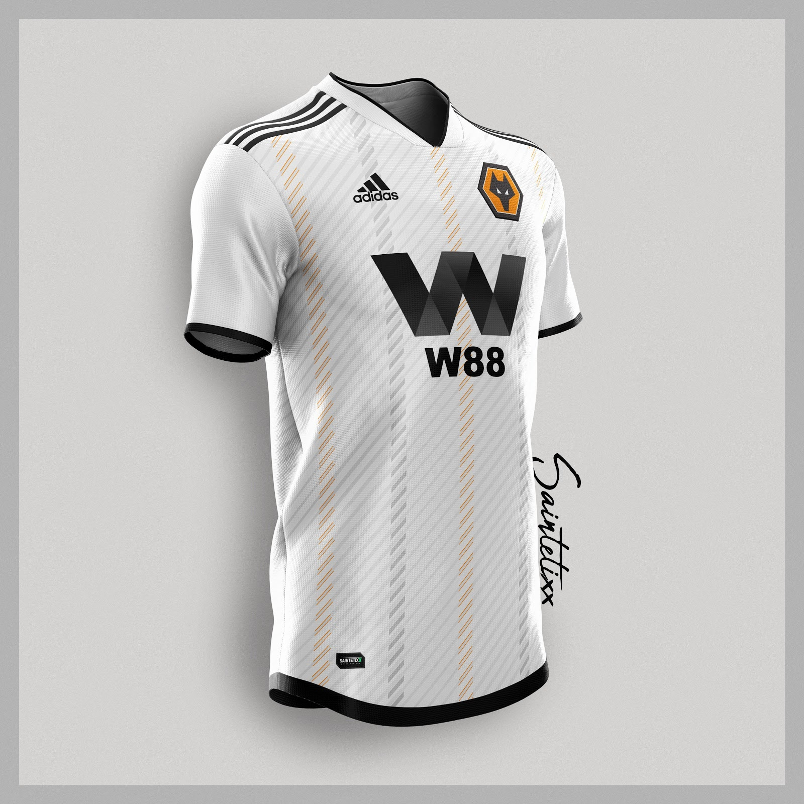 3548e6740b1 Saintetixx's Adidas Wolverhampton Wanderers 2019-20 concept third jersey is  white with a clever diagonal design on the front.