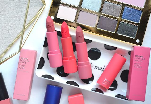flatlay of the face shop rouge powder matte lipsticks
