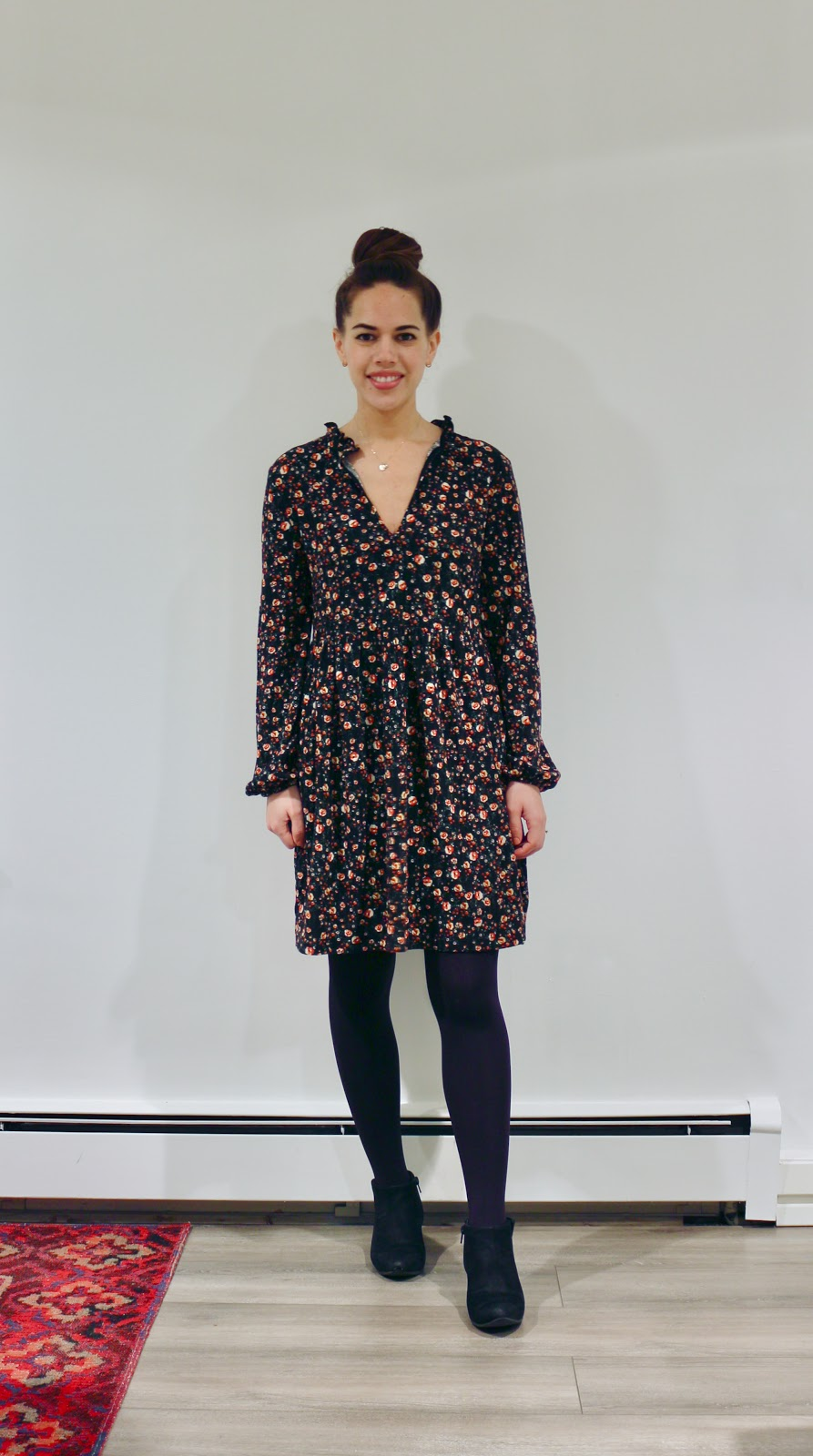 Jules in Flats - Zara Textured Weave Floral Mini Dress (Business Casual Winter Workwear on a Budget)