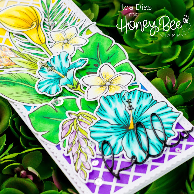 Hello Summer, Blog Hop, Hello, Tropical Lattice, Friendship Card, Honey Bee Stamps, Paradise Blooms, Copics, Distress Oxide, Card Making, Stamping, Die Cutting, handmade card, ilovedoingallthingscrafty, Stamps, how to, blending,
