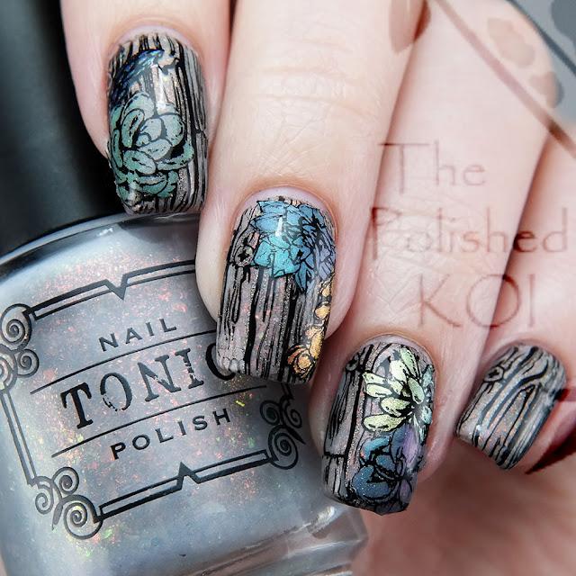 Tonic Polish Chasing Concrete Succulent nail art