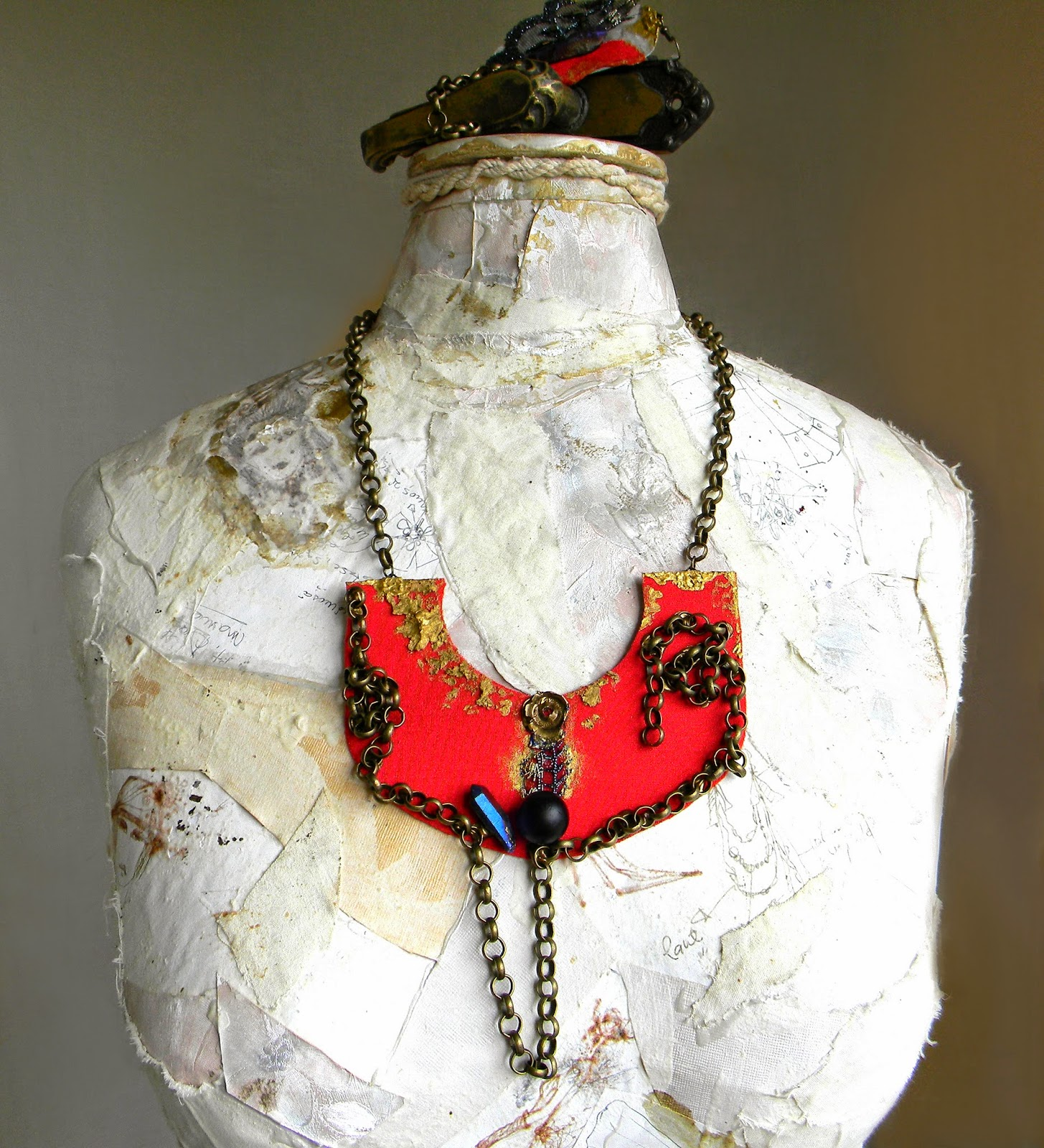 Statement Necklace Bib in Brilliant Red with Crystal Quartz Point and Bronze Chain