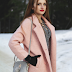 Lace Up Dress and Pink Coat