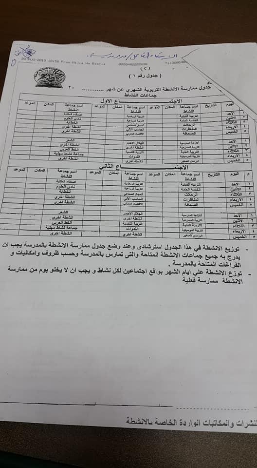 خطة الأنشطة بالمدارس وإختصاصات مشرف الأنشطة للعام الدراسي 2019 / 2020 2