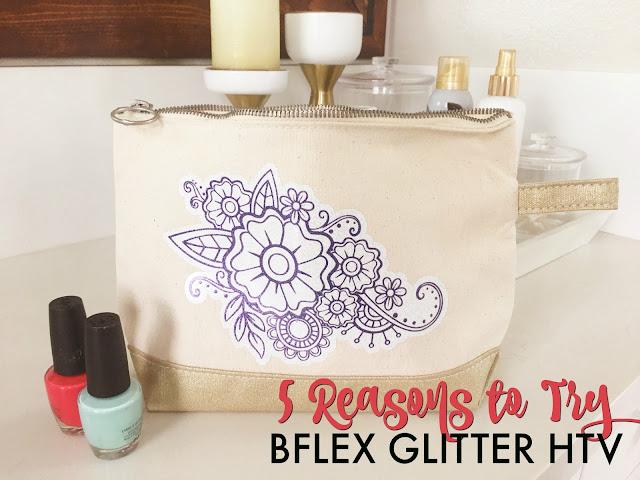 silhouette 101, silhouette america blog, b-flex gimme5 glitter htv, glitter heat transfer vinyl, glitter htv