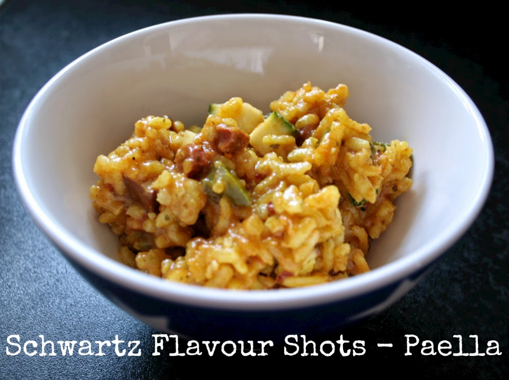 Dinner cheat - is it really cheating to add pre-measured spices?  I tried out the new Spanish Paella Flavour Shot from Schwartz (but added a few of my own ingredients - green peppers, tofu and celery!)