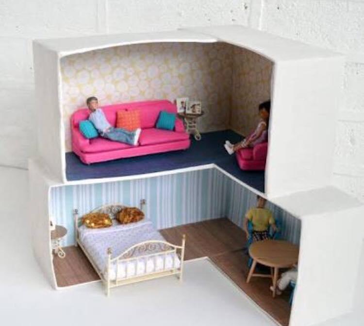Casas para mu ecas recicladas con cajas de cart n Casas hechas de carton