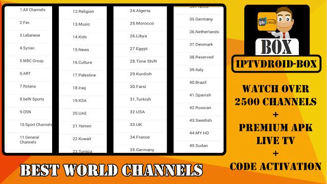 تطبيق جديد: IPTV DROID BOX يضم أكثر من 2500 قناة + كود تفعيل