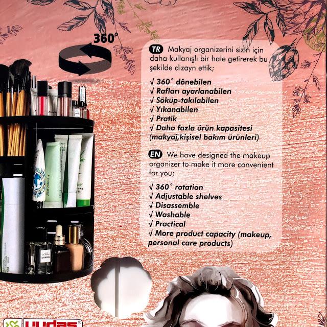 360 derece Dönebilen Makeup Organizer