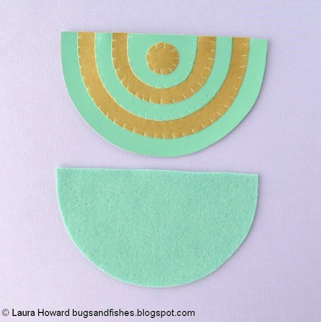 geometric vegan leather necklace tutorial: cut a felt backing piece