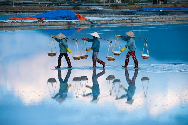 Farmer in Hon Khoi Salt Field, Nha Trang