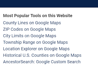 Links to most popular tools on this website including Google Maps with county lines, city limits, ZIP Codes and township range section
