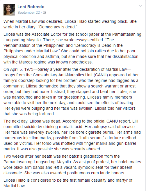 Robredo Facebook post Liliosa Hilao first victim Martial Law