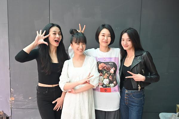 高雄拍短片《喰之女》開鏡,左至右:演員陳雪甄、演員劉黛瑩、導演中西舞、演員韓寧