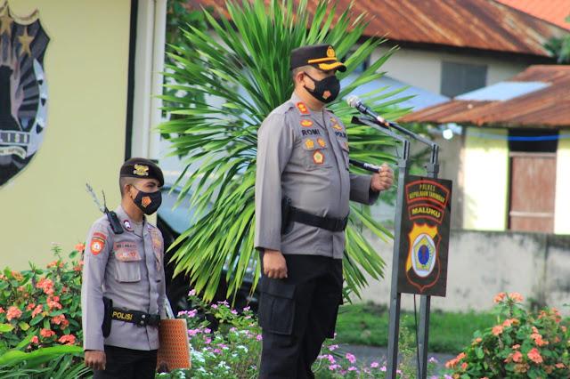 Romi Agusriansyah Pimpin Upacara Korps Raport Kenaikan Pangkat di Polres Tanimbar.lelemuku.com.jpg