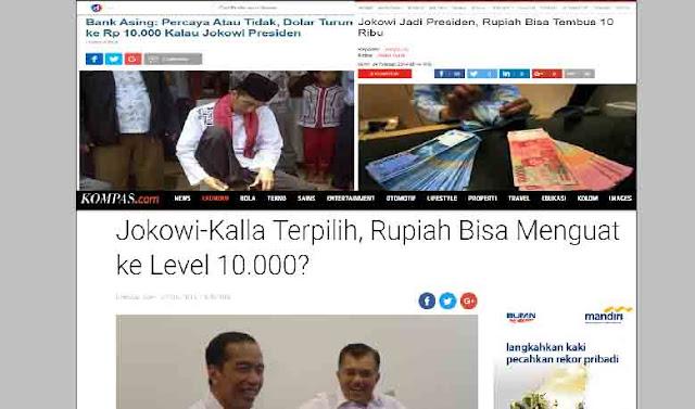 PKS Tagih Janji Fenomenal Jokowi-JK Soal Rupiah di Bawah Rp10.000 Per Dollar