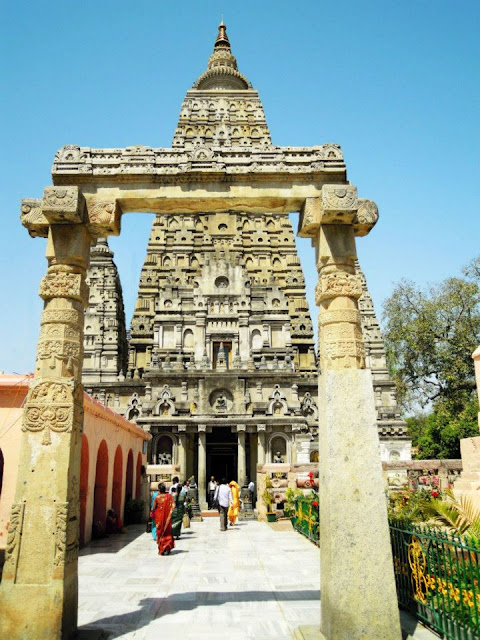 The renovated temple gate of the Mahabodhi Temple, Bodhgaya
