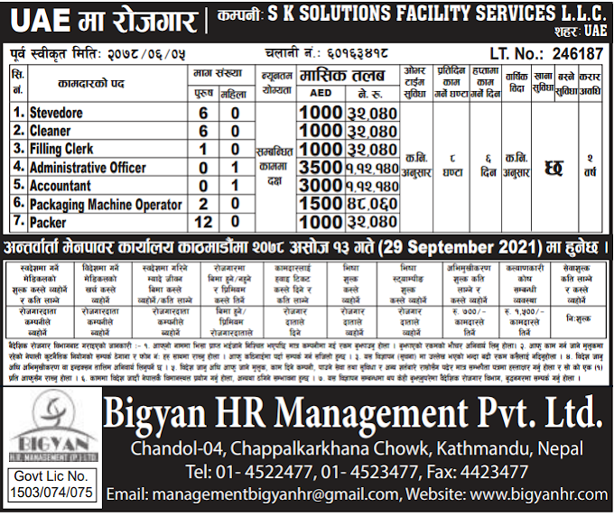 Jobs in UAE for Nepali, Salary NRs 1,12,140