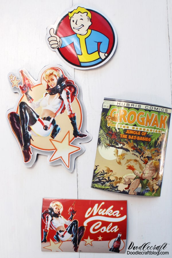 Are you familiar with Fallout 4? It's a first person shooter, post apocalyptic game with quests, companions and lots of radiated monsters. The currency of the game is bottle caps, hence Nuka Girl as the cola mascot. There's magazines you can collect, that's the Grognak magnet below.  It's my husbands favorite video game. He plays it with various mods every Winter to help him cope with the cold. I decided to make some Fallout 4 themed magnets for him for Christmas. I just knew it would be fun for him.