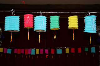 Chinese lanterns at a 40th birthday party