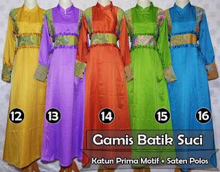 Gamis batik wanita kombinasi kain polos ekslusif