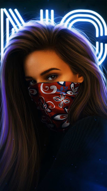 19 Girl Art Mask Neon Wallpapers HD 4K for Android and iPhone