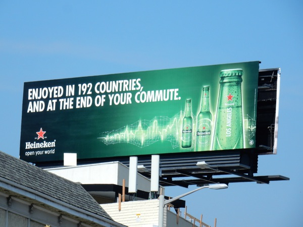 Enjoyed 192 countries at the end of your commute Heineken billboard