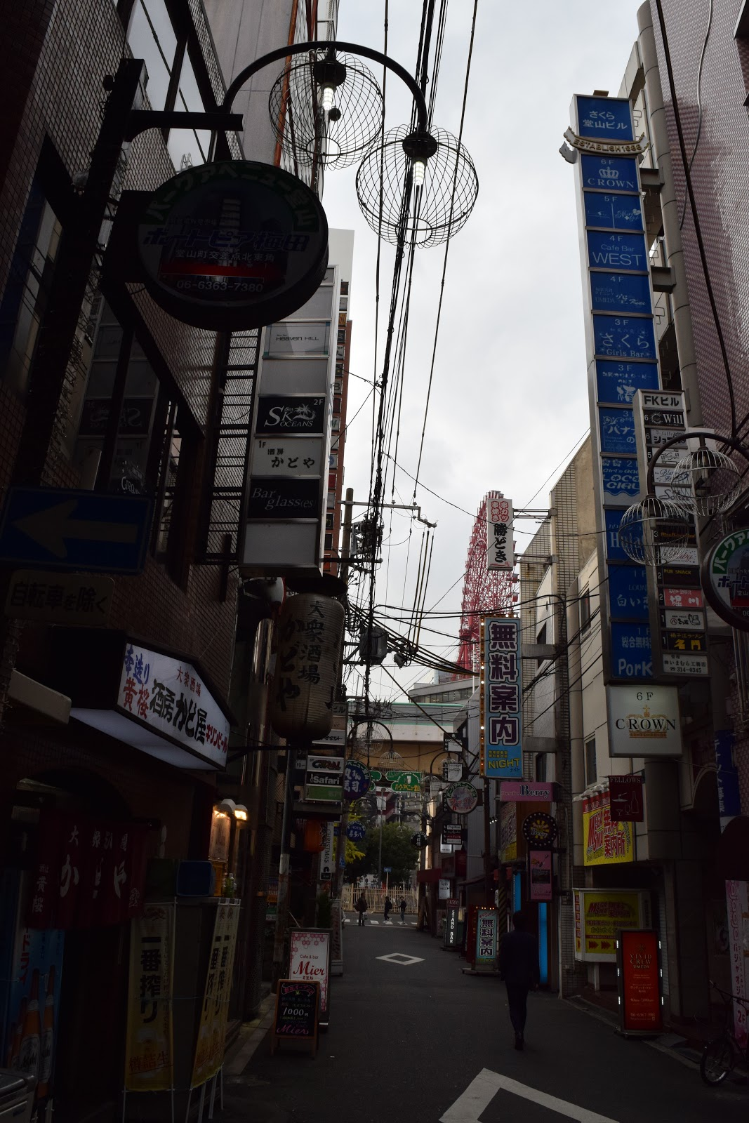 side street in Umeda, Osaka with Hep 5 ferris wheel visible in the distance